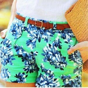 J. Crew Green Floral Shorts